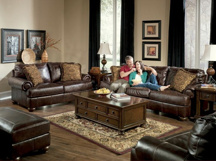 Living room elegant ashley leather living room sets for Living room 507