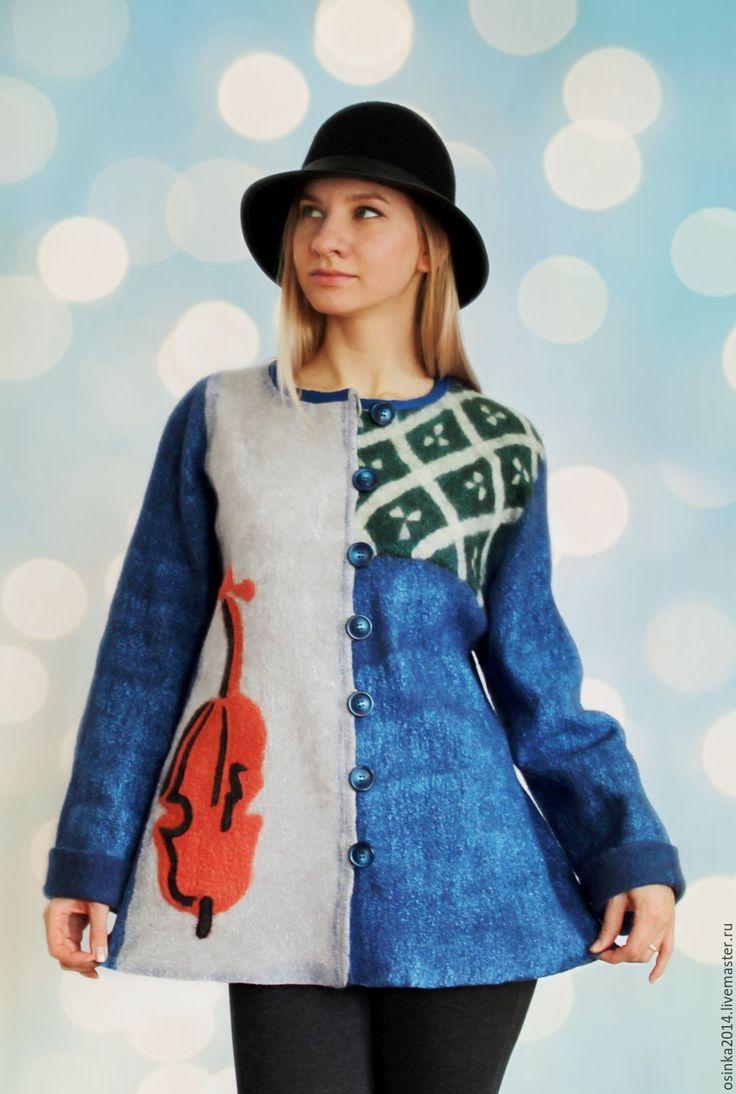 Купить Жакет валяние шерсть Красная скрипка. - комбинированный, рисунок, шерсть, вискоза, жакет