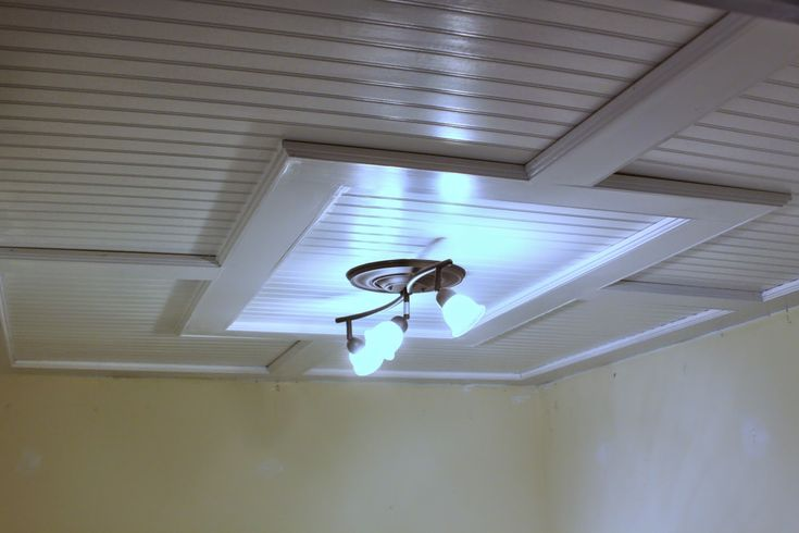 Beadboard Drop-down Ceiling - A great looking way to have access to all those pesky pipes and cables!