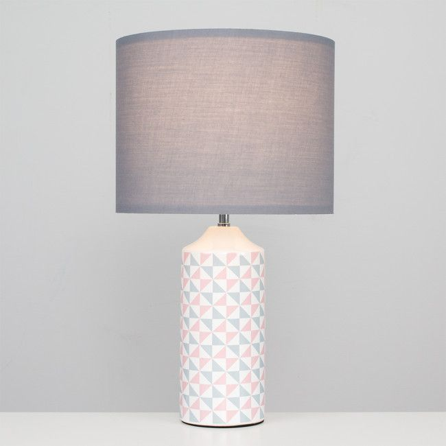 Anneka White Pink And Grey Table Lamp With Grey Shade Table Lamp Lamp Grey Table Lamps