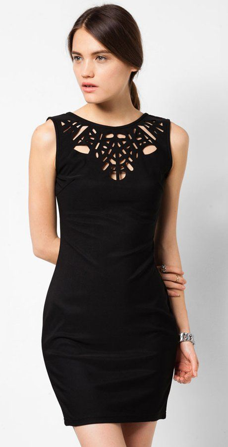 Laser Cut Out Dress in black by Something Borrowed Collection. Elegant dress with detailed cuts at the front. Made of polyester material. http://www.zocko.com/z/JHQmt