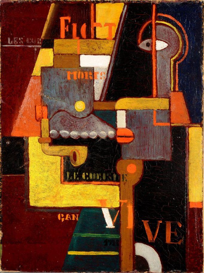 Gösta Adrian-Nilsson (svensk, 1884 - 1965), Komposition med bokstäver 1921, 58 x 44 cm olja.