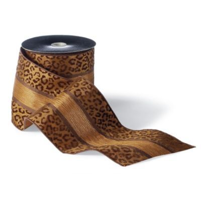 The Cheetah & Chocolate Stripe Ribbon is perfect for all your creative holiday projects. Use the wired ribbon to trim packages, weave around garland, wrap pillar candles, and create showstopping bows. Burnout velvet cheetah print Warm copper ground with chocolate and copper banding Chocolate wired edges Designed by Donna Stevens Imported
