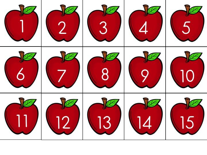 Apple card FREEBIE for counting the days we've been to school or for other math-related activities. 101-190 available as well!