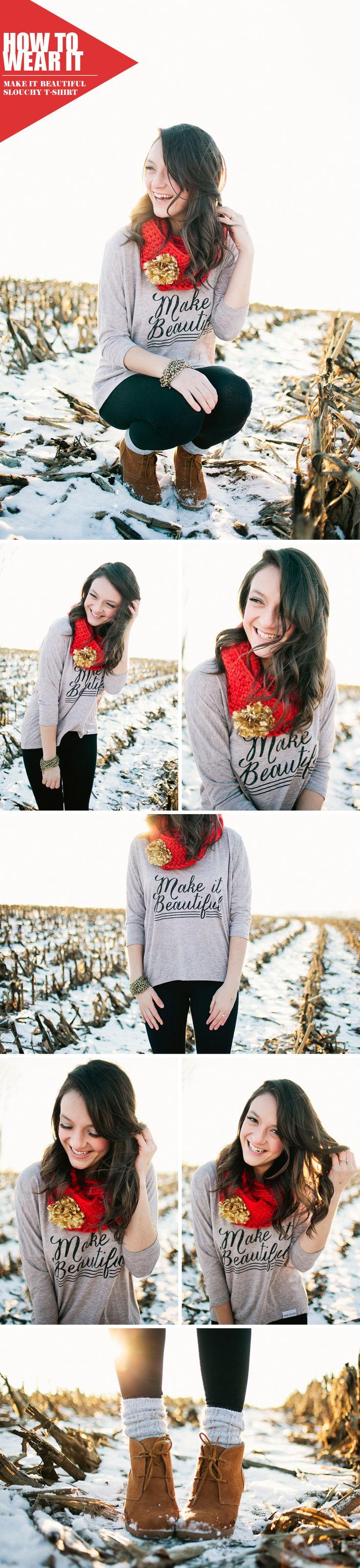 walk in love. // Make It Beautiful Slouchy T-Shirt // Ban.do // Boots // Knit Infinity Scarf // Outfit Inspiration