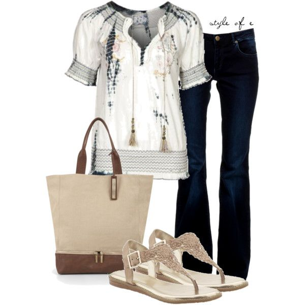 Peasant Top, created by styleofe on Polyvore: Idea, Tops, Fashion Style, Fashionista, Fashion Outfits, Casual, Polyvore Fashion
