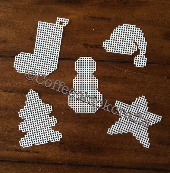 5 Christmas Plastic Canvas Ornament Cut Outs snow,an star stocking Santa hat tree
