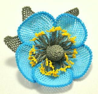 Blue Brooch Aquamarine brooch Royal Blue Crochet by needlecrochet, $30.00