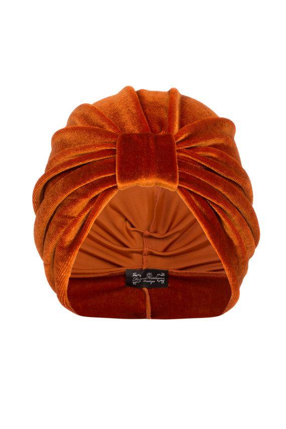 Orange Velvet Turban by TheFHBoutique on Etsy