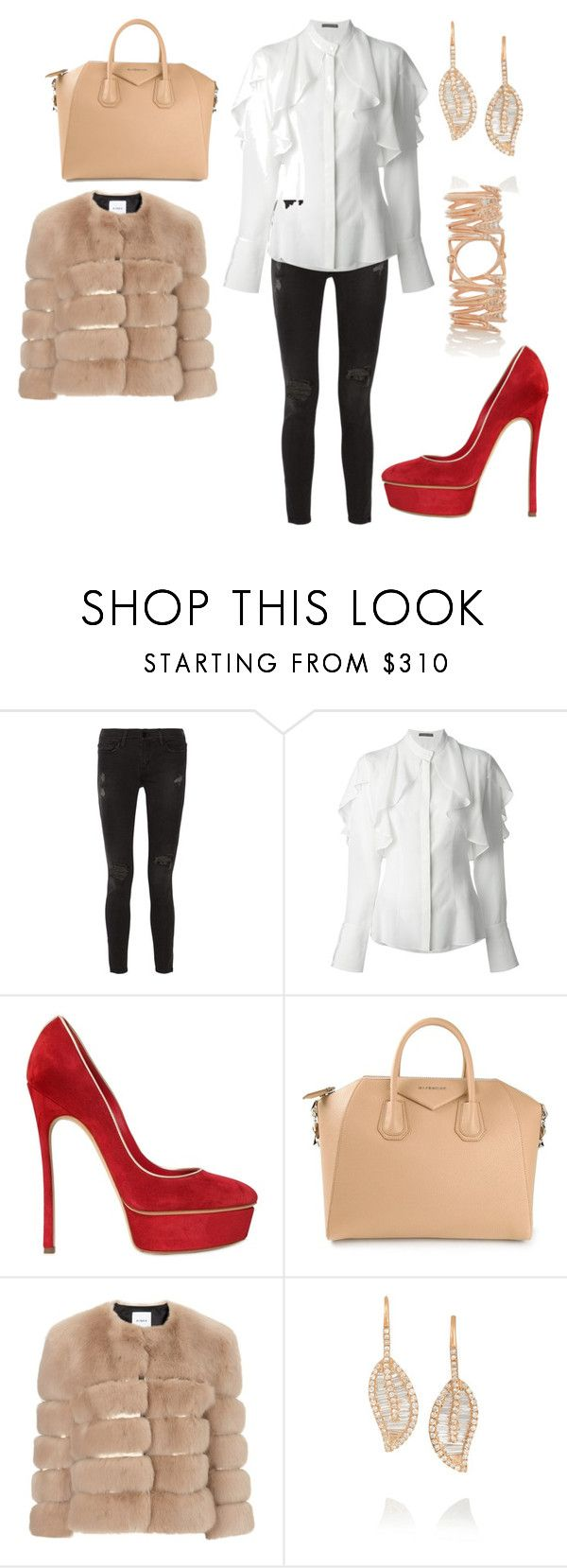 """Untitled #26783"" by edasn12 ❤ liked on Polyvore featuring Frame, Alexander McQueen, Casadei, Givenchy, AINEA, Anita Ko and Katie Rowland"