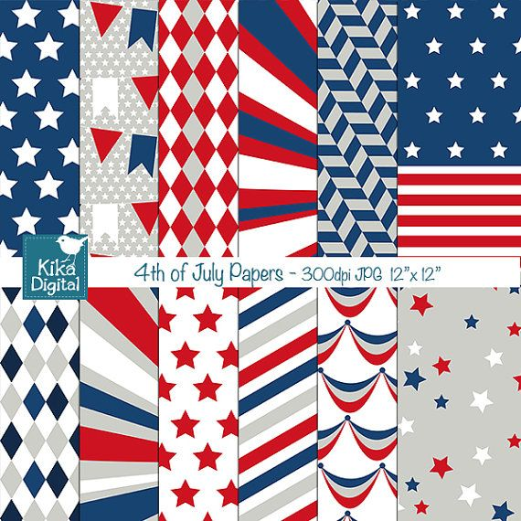 4th of July Digital Papers - Scrapbooking, card design, invitations, background, paper crafts, web design - INSTANT DOWNLOAD