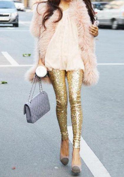 Gold Sequined Leggings + Pink Faux Fur Jacket