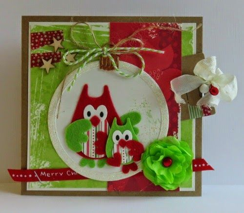 Card by Yvonne with among others Collectables Family Owl (COLL1357) and Snow Globe (COLL1362) by Marianne Design