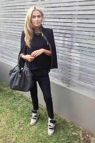 """Running around a chilly Sydney. Sass and Bide cape (love it!). Louis Vuitton bag, Bassike pants [and] Isabel Marant shoes."""