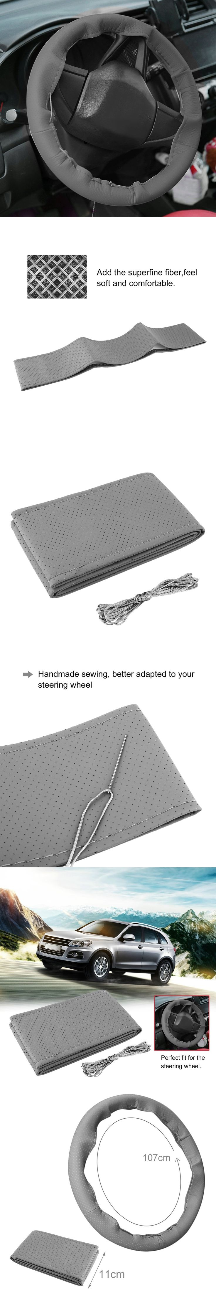 2017 3 Color DIY Texture Soft Auto Car Steering Wheel Cover With Needles And Thread Artificial Leather Car Covers Suite