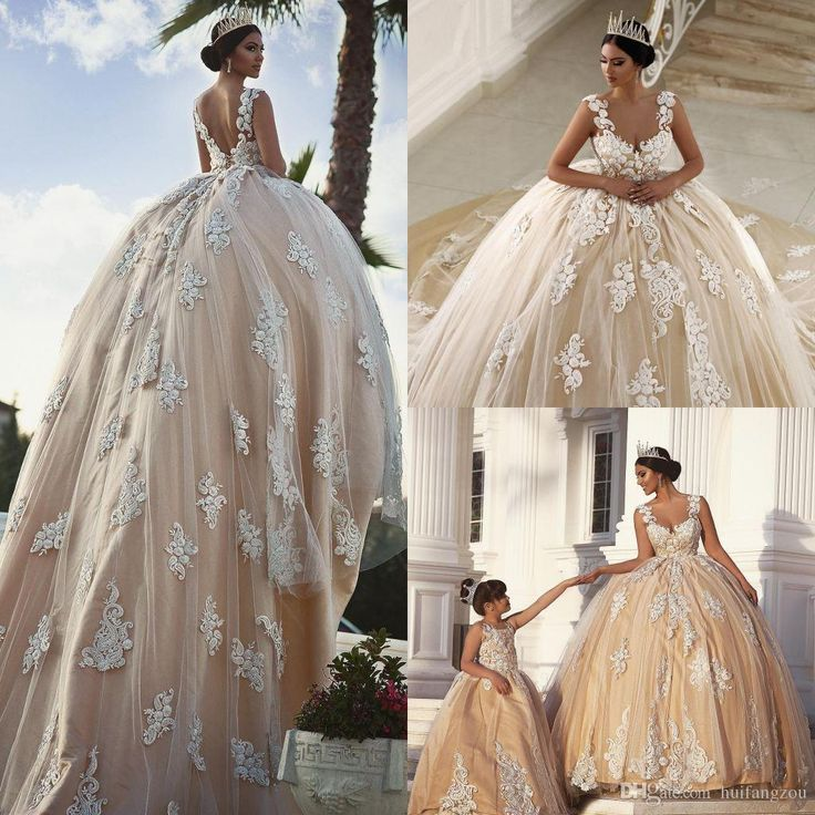 Vintage 2017 Ball Gown Wedding Dresses Delicate Appliques Beaded Bridal Ball Gowns Sweep Length Scoop Neckline Wedding Dress Wedding Dresses For Second Marriages Yellow Wedding Dresses From Huifangzou, $183.32| Dhgate.Com