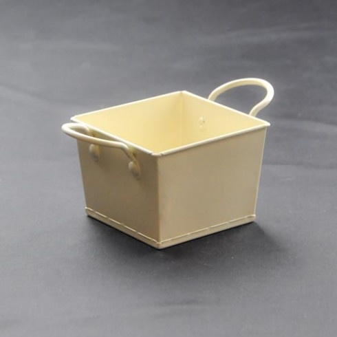 Ivory square metal bucket