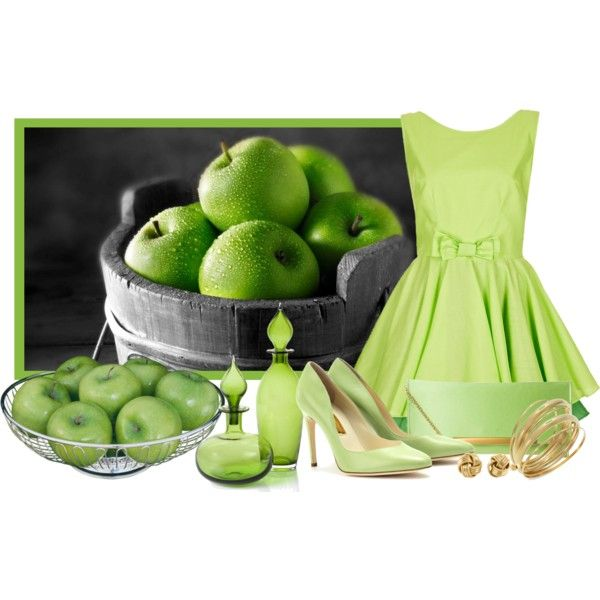 """Apple green"" by barbarapoole on Polyvore"