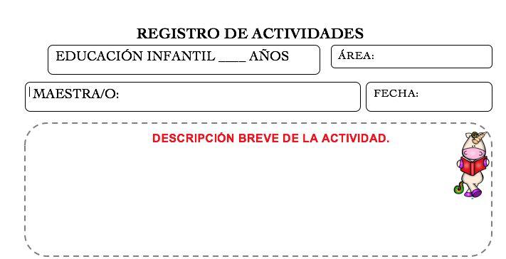 PLANTILLA PARA REGISTRO DE ACTIVIDADES DIARIAS INFANTIL Y PRIMARIA EDITBALE