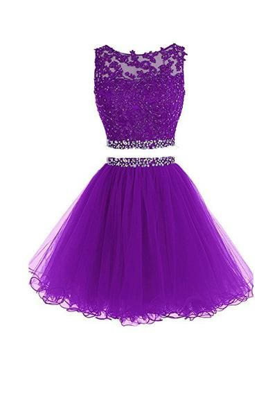 Violet Two Piece Tulle Homecoming Dresses Short Prom Dresses With Beading TR0020