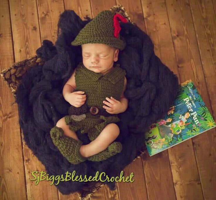 Peter pan.crochet hat and costume 0 to 1 yr old. Peter pan crochet,crochet peter…