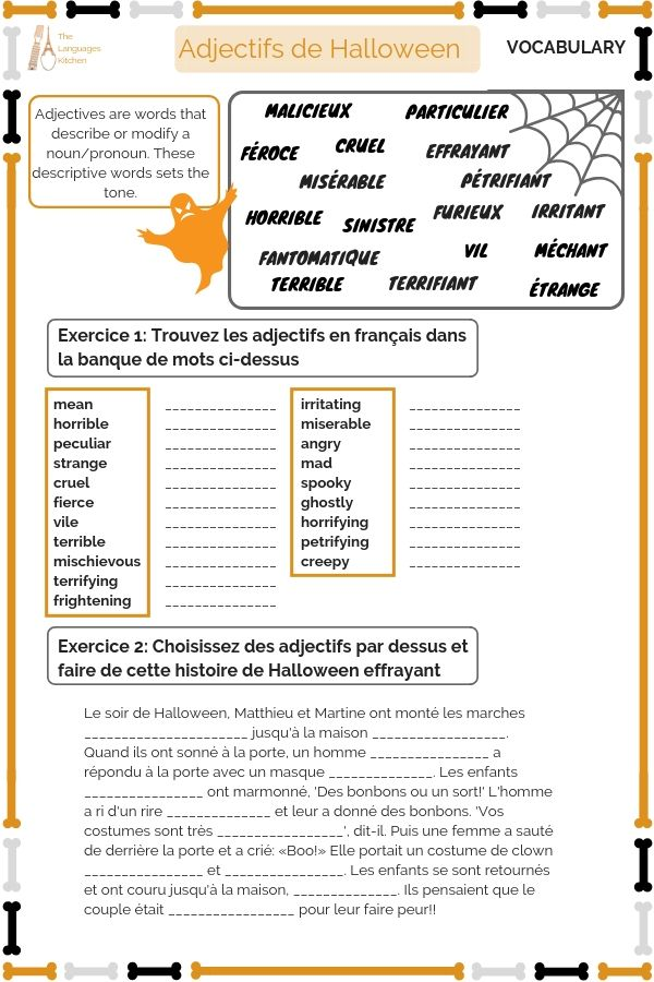 Adjectifs De Halloween Useful List Of Adjectives That Would Be