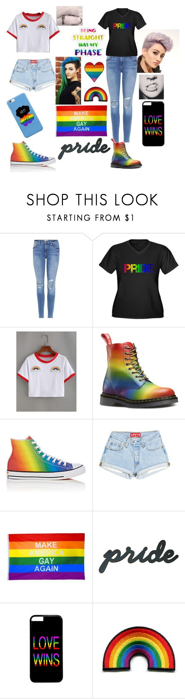"""""""Cute Lesbian couple at Pride """" by doll-senpai ❤ liked on Polyvore featuring Frame, Converse, pride and lovewins"""