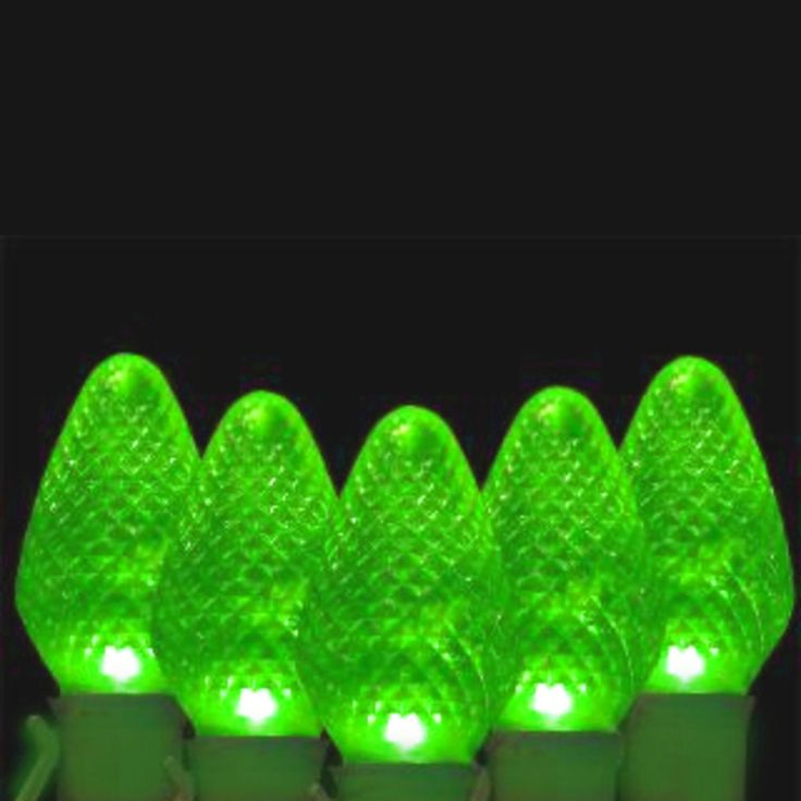 33 faceted transparent green led c7 christmas lights - Led C7 Christmas Lights