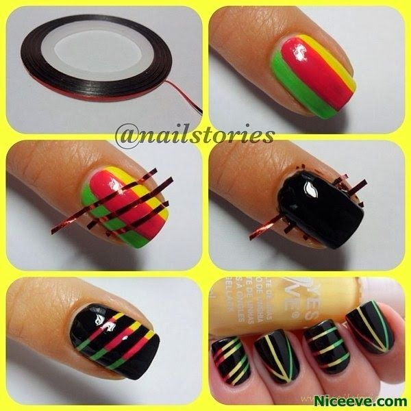 DIY Nail Tutorials With Scotch Tape 2014