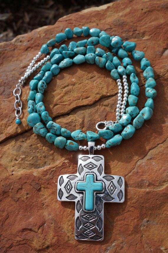 Turquoise Double Strand and Silver Navajo Cross by fleurdesignz