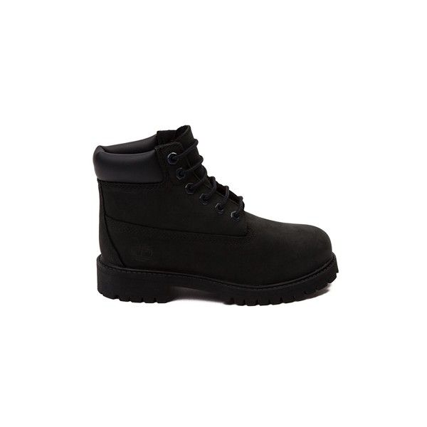 Youth Timberland 6 Boot, Black, at Journeys Shoes ($8,499) ❤ liked on Polyvore featuring shoes, boots, timbs and tims