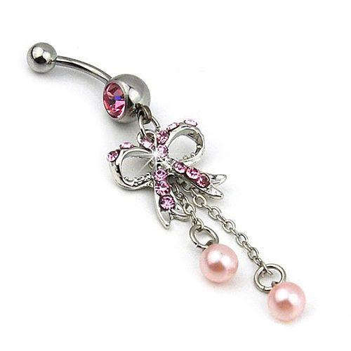Belly ring with pink bow tie and faux pearls.  Piercing de ombligo con lazo y perlas rosas.