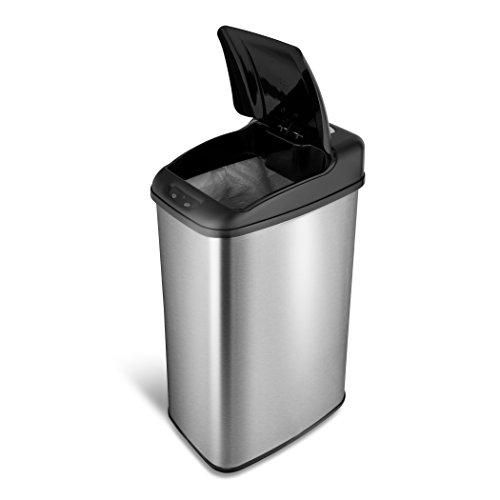 Automatic Touchless Motion Sensor Rectangular Trash Can, 13.2 Gal. 50 L., Stainless Steel