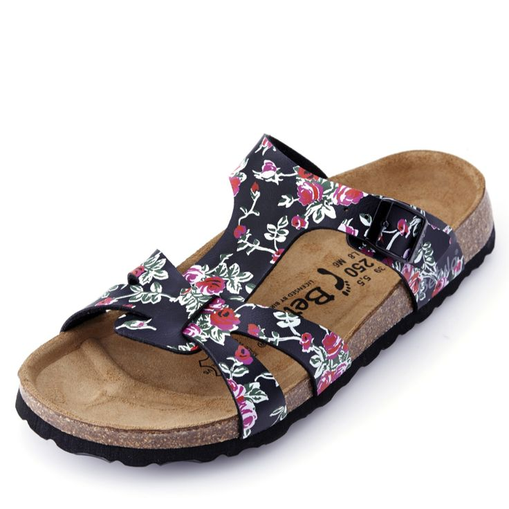 Match your footwear to the occasion with these gorgeous Betula by Birkenstock black rose sandals.