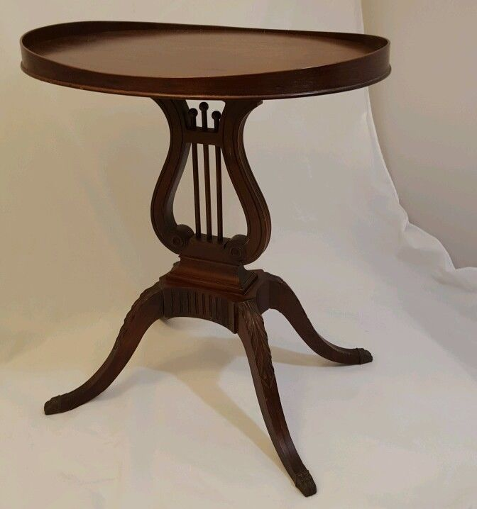Vintage Antique Lyre Harp Pedestal Table Mahogany Oval Top
