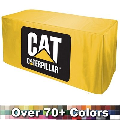 Total: 5 Order 4 eight foot table covers AND 1 six foot cover for the demo table 197.40 each Promotional  Digital No Pleats Fitted Style Tablecloth