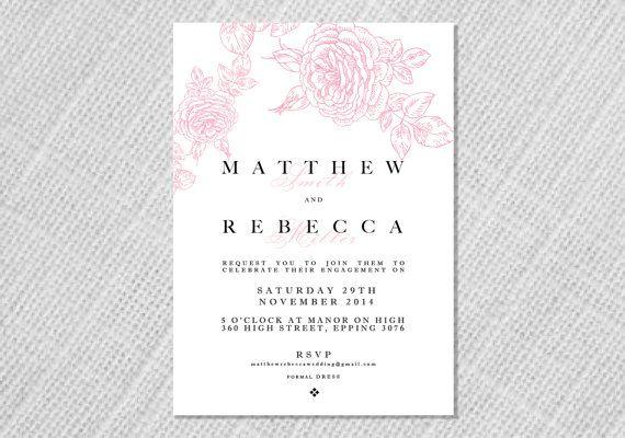 Printable Wedding Engagement Invitation  Art by StationerybyDana, $15.00