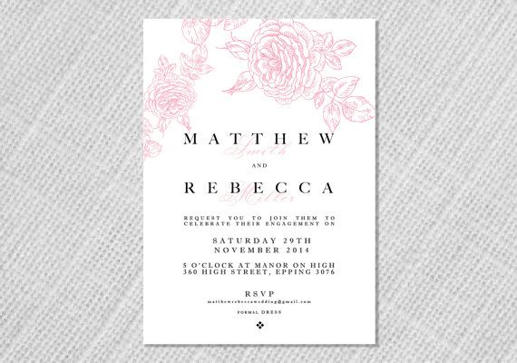 Printable Wedding Engagement Invitation  Art by StationerybyDana, $15.00