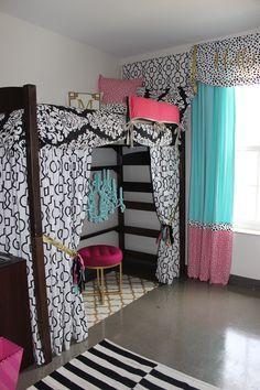 Ole Miss Dorm : Black Gold Tiffany Pink Dorm Room | Sorority and Dorm Room Bedding -- Bunked Bed
