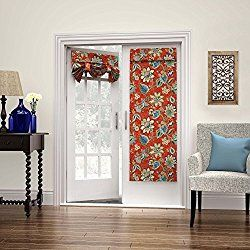 1 Piece 68 Inch Gem Color Jacobean Floral French Door Curtain Single Panel, Dark Red Flower Pattern Glass Door Patio Door Curtains Stylish Contemporary Vertical Shades Classic Casual, Cotton