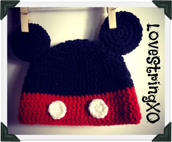 Disney Mickey Mouse Crochet Beanie / Photo Props Beanie / Etsy Baby / Crochet Bebe / Handmade gift ideas. $25.00, via Etsy.