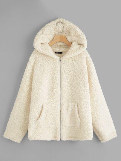 f28471dfa62 Plus Pocket Side Zip Up Hooded Teddy Jacket