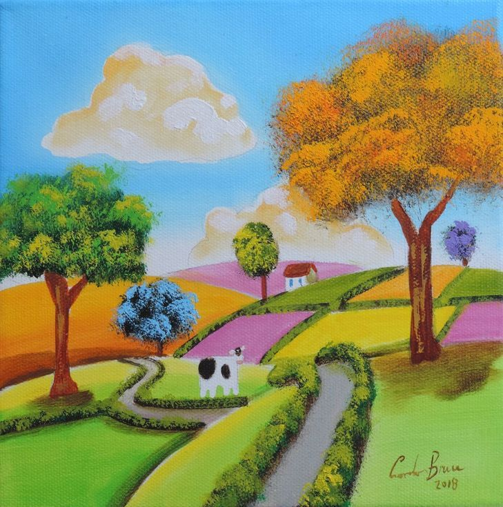 Buy Folk Art Cow Oil Painting By Gordon Bruce On Artfinder Discover Thousands Of Other Original Paintings Prints Sculptures And Ph Cow Painting Cow Art Art