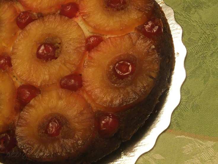 Upside Down Pineapple Cake - Sliced caramelized pineapple baked in a sweet white cake; and maraschino cherries of course