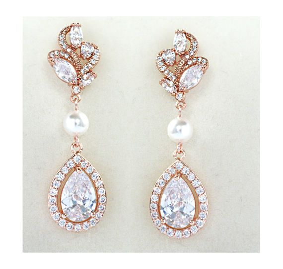 Rose Gold Bridal Earrings Wedding Cubic Zirconia  Tear Drops Pearl Bridal Jewelry Rose Gold Crystal Wedding Earrings by wearableartz. Explore more products on http://wearableartz.etsy.com