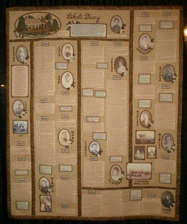 This gorgeous quilt incorporates old family photos and an ancestral diary. It was made by Eileen Campbell of http://www.eileencampbellquilts.com/