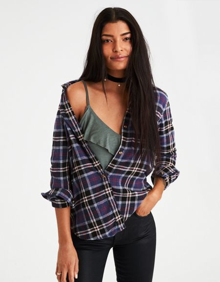 American Eagle Outfitters AE Flannel Boyfriend Shirt