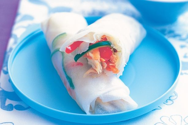 Chicken spring rolls are a simple and healthy way to start your Asian inspired meal.