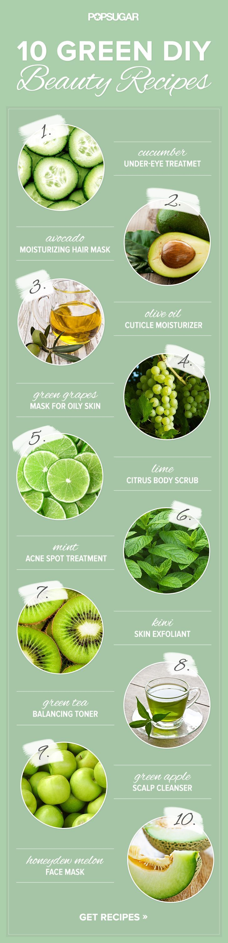 10 Beauty DIY Recipes That Are Green in Every Way ......... 10 beauty recipes that harness the skin-saving characteristics of our favorite foods. But in addition to being great for your complexion and the environment, these at-home mixers are also green . . . really green.