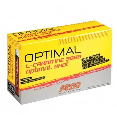 Optimal L-Carnitine 3000 Optimal Shot de Megaplus es un complemento alimenticio de L-Carnitina y Taurina que favorece la eliminación de grasa combinado con ejercicio aeróbico. Envío Gratis 24H
